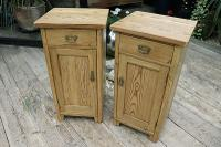 Nice 'Chunky' Pair of Old Stripped Pine Bedside Cabinets / Cupboards - We Deliver! (2 of 8)
