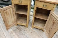 Nice 'Chunky' Pair of Old Stripped Pine Bedside Cabinets / Cupboards - We Deliver! (4 of 8)