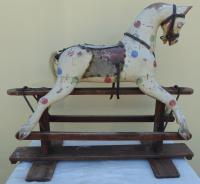 Baby Carriage Spotted RAmbler Rocking Horse For Restoration C.1930