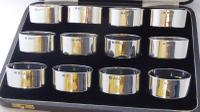 Boxed Set of 12 Solid 1936 Hallmarked Silver Napkin or Serviette Rings 422.7g (2 of 8)