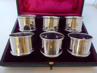Boxed Set 6 Hallmarked Solid 1927 Silver Napkin Rings Serviette Ring Numbered (2 of 9)