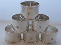 Boxed Set 6 Hallmarked Solid 1927 Silver Napkin Rings Serviette Ring Numbered (3 of 9)