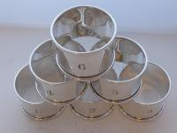 Boxed Set 6 Hallmarked Solid 1927 Silver Napkin Rings Serviette Ring Numbered (4 of 9)