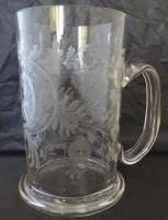 Large Victorian Antique Masonic 1 1/2 Pint Glass Tankard c.1860 (2 of 11)