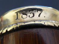 Walking Stick Cane 18ct Gold Button Top Pommel Partridge Wood Shaft C.1837 (6 of 11)