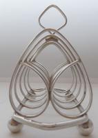 Pair of 1916 Irish Dublin Solid Hallmarked Silver Toast Racks Heart Design (3 of 10)