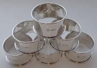 Boxed Set 6 1924 Hallmarked Solid Silver Napkin Rings Serviette Ring (2 of 6)