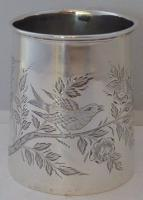 Birmingham 1904 Hallmarked Solid Silver Christening Mug Tankard Bird Design