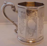 Victorian London 1839 Hallmarked Solid Silver Christening Mug Tankard