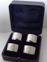Boxed Set of 4 Art Deco 1938 Hallmarked Solid Silver Napkin Rings Serviette Ring