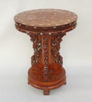 Antique Chinese Hardwood Table with Mother of Pearl Inlay