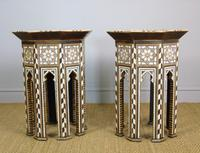 Antique Pair Syrian Mother of Pearl Inlaid Hardwood Tables (7 of 11)
