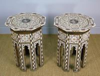 Antique Pair Syrian Mother of Pearl Inlaid Hardwood Tables