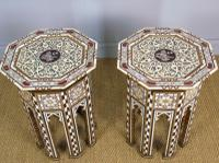 Antique Pair Syrian Mother of Pearl Inlaid Hardwood Tables (11 of 11)