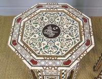 Antique Pair Syrian Mother of Pearl Inlaid Hardwood Tables (10 of 11)