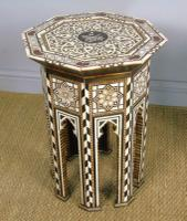 Antique Pair Syrian Mother of Pearl Inlaid Hardwood Tables (2 of 11)