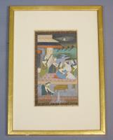 Antique Indian Gouache Painting Figures on a Terrace 19th Century