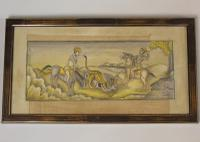 Antique Indian Watercolour Tiger Hunt