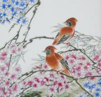 Antique Chinese Porcelain Plaque in Hardwood Frame Birds & Blossom (5 of 6)