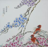 Antique Chinese Porcelain Plaque in Hardwood Frame Birds & Blossom (6 of 6)