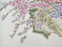 Antique Chinese Porcelain Plaque in Hardwood Frame Birds & Blossom (4 of 6)