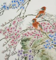 Antique Chinese Porcelain Plaque in Hardwood Frame Birds & Blossom (3 of 6)