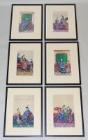 Exceptional Set of Six Chinese Pith Paintings
