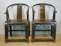 Good Pair of Chinese Horseshoe Armchairs c.1890 (2 of 5)