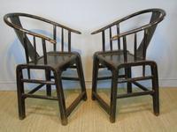 Good Pair of Chinese Horseshoe Armchairs c.1890 (3 of 5)