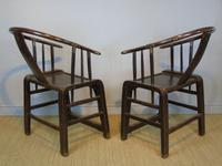 Good Pair of Chinese Horseshoe Armchairs c.1890 (4 of 5)