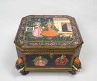 Antique Indian Wood & Polychrome Decorated Spice Box