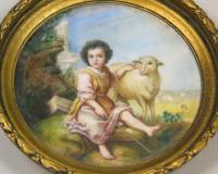 Painted Porcelain Plaque 19th Century St John the Baptist (2 of 5)