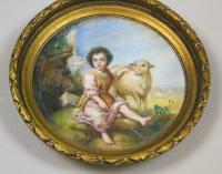 Painted Porcelain Plaque 19th Century St John the Baptist (3 of 5)