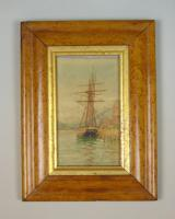 Antique Watercolour of Sailing Ship 19th Century Cornwall (3 of 5)