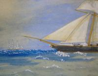 Antique Watercolour of Sailing Ship 'the Hawk' (4 of 6)