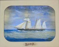 Antique Watercolour of Sailing Ship 'the Hawk' (3 of 6)