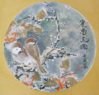Antique Japanese Watercolour Painting Finches in Snow Yakata Ransui (3 of 5)