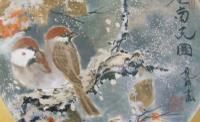 Antique Japanese Watercolour Painting Finches in Snow Yakata Ransui (4 of 5)