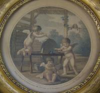 Antique Pair of Hand Coloured Engravings Bartolozzi (6 of 7)