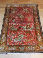 Persian Silk Hand Woven Ghom Hunting Rug