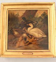 Charming Victorian Oil On Canvas Ducks & Ducklings (5 of 7)
