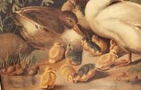 Charming Victorian Oil On Canvas Ducks & Ducklings (7 of 7)