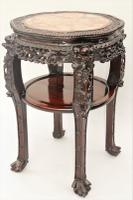 Large Chinese Hardwood Marble Top Lamp Table / Urn Stand