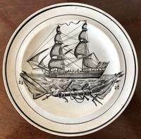 Swansea Dillwyn Creamware Ship Pattern Plate c.1835