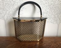 1950s American Black & Gold Hexagonal Lucite Handbag