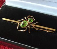 Edwardian 9ct Gold & Peridot Spider Brooch
