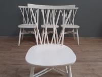 Set of 4 White Painted Candlestick Chairs by Ercol (5 of 7)