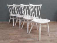 Set of 4 White Painted Candlestick Chairs by Ercol (6 of 7)