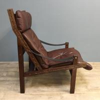 1960s Norweigan Leather & Hardwood 'Hunter' Armchair (7 of 8)