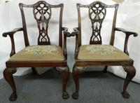 Pair of Chippendale Style Elbow Chairs